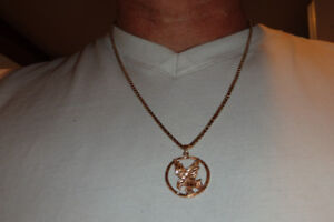 solid 10k gold chain with eagle pendant
