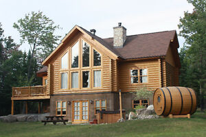 Chalet to rent log house for rent Fiddler Lake 72 with spa sauna