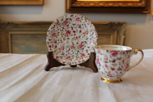VTG Windsor Bone China Chintz Rose Dubarry Briar Confetti Teacup