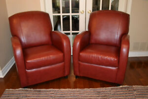 Pair of Maroon Red Leather Club Chairs