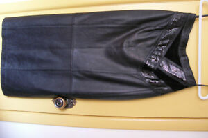 Olympic-Black Leather,Snake Skin,Suede Long Skirt