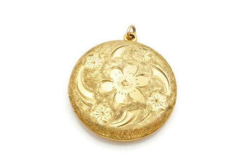 Vintage Marathon 12k Gold Filled GF Picture Locket Pendant Floral Flower Etched