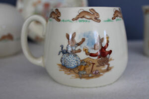 Vintage Bunnykins collectible tableware set and modern moneyball