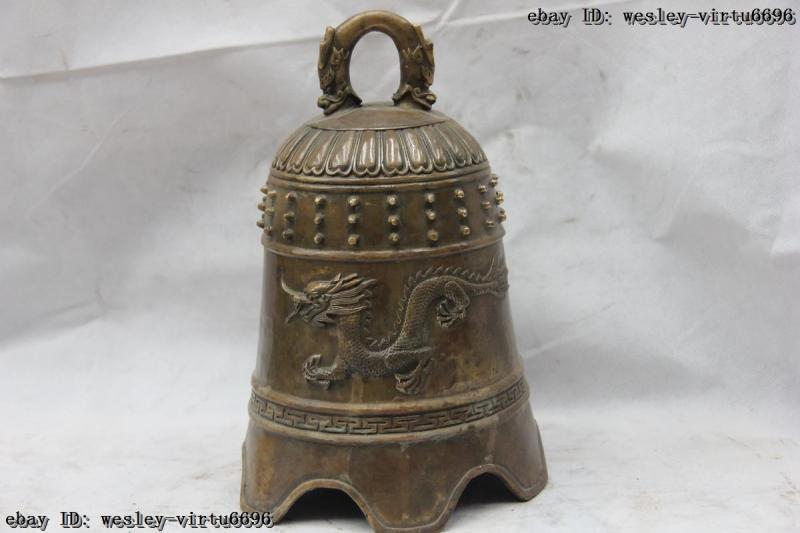 Tibet Old Monastery Copper Bronze Buddhism Dragon Buddha Bell tinkle bell Bells