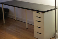 90% new black long desk 1 bookshelf and 2 chairs(good condition)