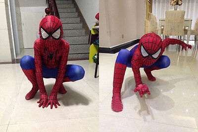 Child Amazing Spiderman Spandex Zentai Suit Superhero Cosplay Costume For Kids