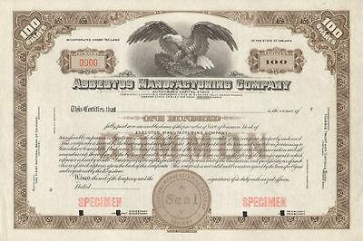 Asbestos Manufacturing Company > Indiana stock certificate specimen