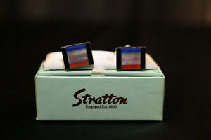 Men's Blue Orange White Striped Cufflinks by Stratton of England
