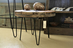 RUSTIC ROUND COFFEE TABLE, HAIRPIN LEGS, SOLID WOOD