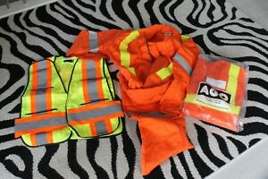 2 mens large coveralls orange and reflective vest