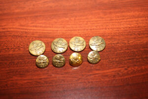 8 R.C.A.F. Brass Buttons - WW2 Kings Crown