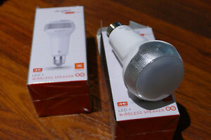 Pair of LED light bulbs and wireless speakers in one.