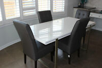 Modern White Kitchen table with 4 leather chairs