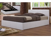 Double, Black, white leather bed, storage, new, ottoman, hydraulic frame, memory ortho mattress.