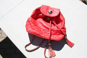 Topshop Faux Leather Red Chain Backpack