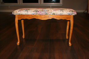 Upholstered Oak Bench