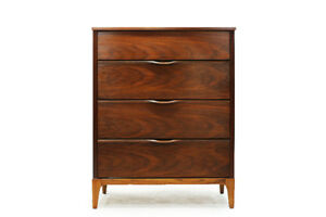 Mid Century Walnut 4 Drawer Tallboy Dresser