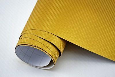 7,8€/m² 3D Carbon Folie gold - blasenfrei 100 x 152cm Klebefolie Carbon Optik