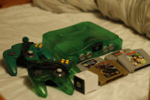 Nintendo 64 Jungle Green Console + Games and Controllers