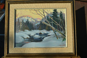 LISTED ARTIST TOM HALL OIL ON BOARD WINTER PAINTING EXCELLENT