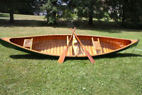 Peterborough Canvas Covered Cedar Strip Canoe - Antique