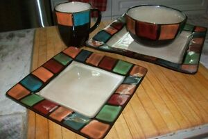16 Piece Colourful Square Stoneware Dish Set - Stokes