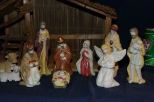 12-Piece ceramic Nativity or Creche, with a Stable Manger.