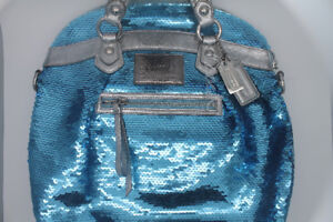 Coach sequin purse, blue sparkles from discontinued Poppy line