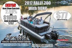 Rally Series Pontoon boats from Crestliner and Mercury