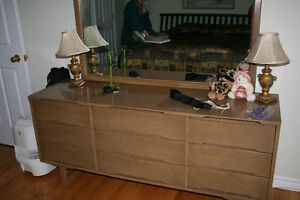 Dresser with mirror and chest of drawers