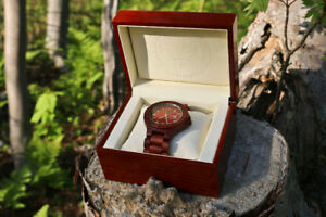 Canadian Proud Red Sandalwood/White Chrome Wooden Watch