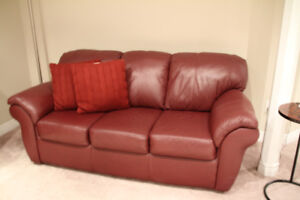 LEATHER SOFA AND CHAIR (MAROON)