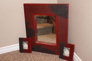 Chinese Themed Framed Mirror with matching Picture Frames