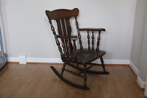 Vintage Oak Rocking Chair, Leather tole seat