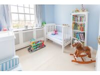 Boori baby room furniture (cot/toddler bed, changing table, tall bookshelf) plus white oak wardrobe