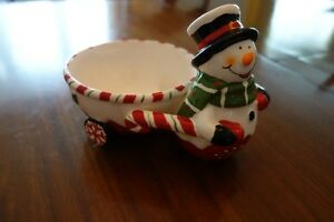 Christmas! Snowman candy dish and pate serving dish with knife Kingston Kingston Area image 3