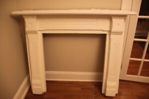 Antique Fireplace Wood Mantel