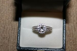 Ladies 18k White Gold Over 925 Silver Engagement Ring