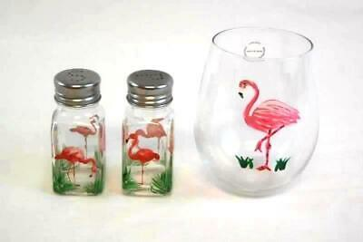 Vintage Pink Flamingos Glass Salt And Pepper Shakers With A Drinking Glass