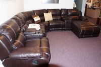 Seven piece leather sectional for sale