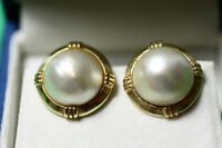 14K gold Piereced Earrings real MABE pearls great condition