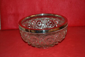 Silver-rimmed cut glass bowl