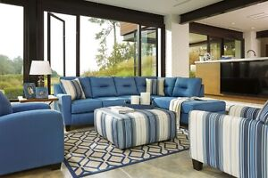 Ashley Blue 2 Piece Nuvella Sectional-STAIN RESISTANT FABERIC!!