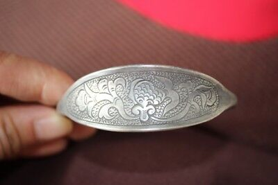 Tribal exotic chinese handmade miao silver Carving Flowers bracelet