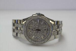 **SPARKLE** Bulova Mens 96B235 Swarovski Crystal Watch (#15421)