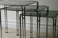 Chrome and Glass Nesting Tables