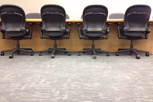Steelcase Leap black leather chairs 6 available $400 each