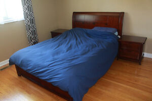 Queen Size Hardwood Bed: Frame + Mattress + Night Tables