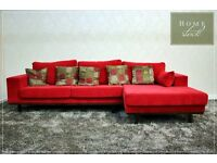 SCS CHILLI BRIGHT RED - Brand New red fabric corner sofa with home-stock deliver