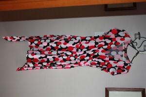 Pink, white, black poke-a-dot dress (L)